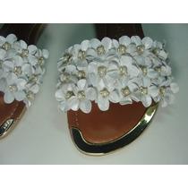 Rasteirinha Sandalia C/ Flores Strass Branca /amarela/ Azul