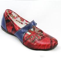 Sapatilhas E Cia Comfort Boneca Retrô Splash Couro 15746-61