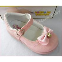 Sapatos Infantil Rosa Social Com Laço, Boneca