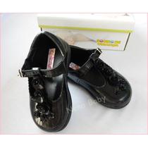 Sapatos Infantil Preto Social Com Rosas, Boneca Batizados