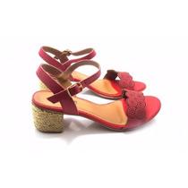 Sandalia Feminina Salto Baixo Quadrado Vermelha Couro