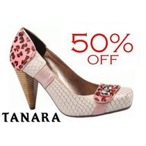 50% Off Sapato Scarpin Tanara Onça Rosa N0982