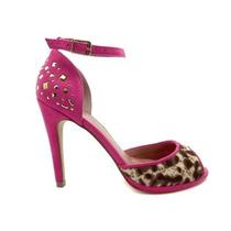 Sandália Pink Torricella Com Pata Baixa Salto Alto Peep Toe
