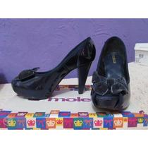 Sapato Moleca, Azul Metálico, Peep Toe - Nº36