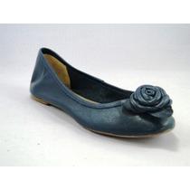 Sapatilha Couro Azul Marinho Flor Rs 202-35