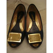 Sapatilha Sapato Moleca Azul Fivela Dourada Tam. 34 Saltinho