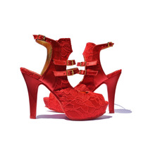 Sapato Peep Toe Noivas Tecido Renda/cetim Vermelho