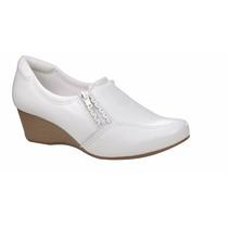 Sapato Branco Anabela De Couro Feminino -neftali -enfermagem