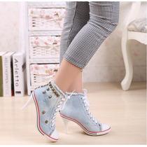 Tênis Jeans De Salto Com Spikes Sneakers Importado