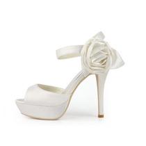 Sandália Branca De Cetim Noivas Calçados Encomenda Importada