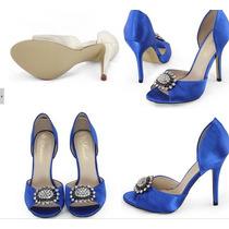 Peep Toe Azul De Cetim Noivas - Sob Encomenda - Importada