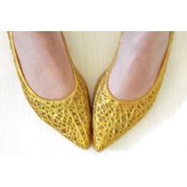 Sapatilha Estilo Melissa Amarela Dourada Com Glitter