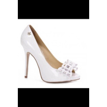Peep Toe Carmim Branco 37 Ideal Para Noivas
