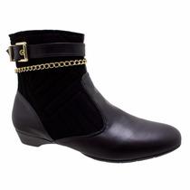 Bota Ankle Boot Ana Flex 261523 Preto (frete Grátis)