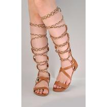 Sandálias Gladiadoras Alta C/ziper Mod2 - Chiquiteira Outlet