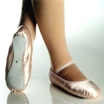 Sapatilha De Ballet Rosa De Cetim Meia Ponta 16 A 37