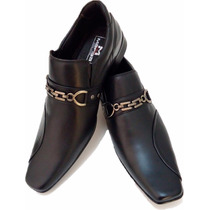Sapato Masculino Social Preto Stilo Ferracini Democrata Luxo