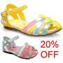 20% Off Sandália Bibi Couro Meninas - Amarela Ou Branca/rosa