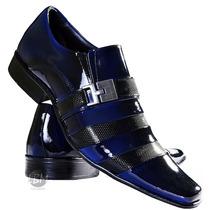 Sapato Social Masculino Verniz Azul Lançamento 100%couro