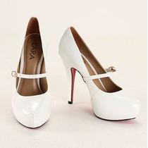 Sapato Scarpin Salto Boneca Branco Preto Nude Sola Vermelha
