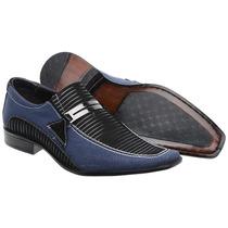 Sapato Social Masculino Lona Jeans Fivela Luxo Exclusivo