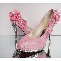 Scarpin Rosa Exclusivo Para Noivas N35 A Pronta Entrega