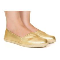 Alpargata Dourada De Tecido Taquilla