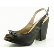 Sandália Glamm Laço E Salto Quadrado - Sapatos Mania