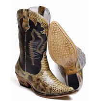 Bota Masculina Country Texana Cano Alto - Couro Anaconda