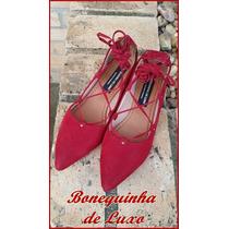 Sapatilha Bico Fino Vermelha De Amarrar - Lace Up Flats