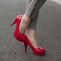 Sapato Feminino Salto Plataforma Peep Toe Festa Importado
