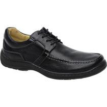 Sapato Linha Conforto Em Couro Antistress Macio Anatômico