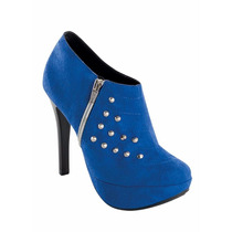 Ankle Boot Com Spikes Azul