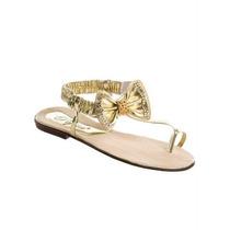 Sandália Rasteira Detalhe Laço Dourada