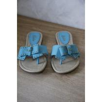 Sandália, Sapatilha Azul Com Pedras Nova Número 36