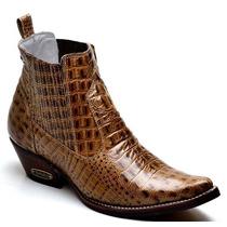 Bota Moda Country Masculina Botina Rodeio Crocodilo Couro