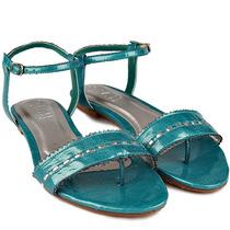 Sandália Rasteira Givit Rasteirinha Azul Prata Couro Nº 37