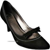 Sapato Scarpin Bico Fino Givit Couro Preto Salto Médio 38