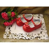 Sapato Sapatinho Social Infantil Menina Bebê - Vermelho Mod4