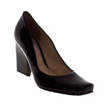 Sapato Scarpin Verniz Salto Feminino Miucha Confortável Leve