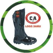 Bota Com Ca Militar Samu Motociclista Cano Longo Couro 100%.