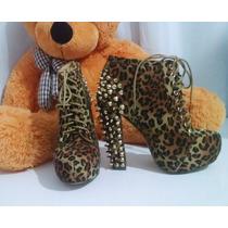 Sandalia Ankle Boots Oncinha Com Tachas E Rebites 35
