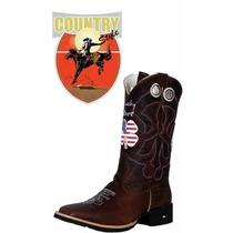 Bota Texana Mr. West Live Lucky Usa Bico Quadrado Cano Alto