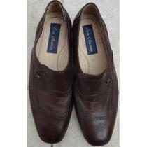 Sapato Social Nº 39 Couro E Sola Cor Marrom Escuro
