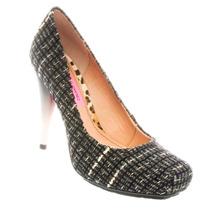 Sapato Salto Tecido Bordado Miucha Feminino Confortável 1934