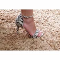 Sandália Salto Fino Cobra Offwhite/preto Elegante E Linda!