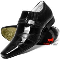 Sapato Social Masculino Bico Fino Envernizado Preto Brilho