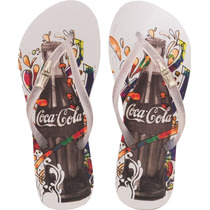Chinelo Coca Cola Celebration W -branco E Prata Coca-cola