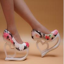 Sapato Importado Feminino Salto Alto Plataforma Vermelha