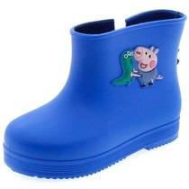 Bota Galocha Infantil Masculina Peppa E George Azul Velcro